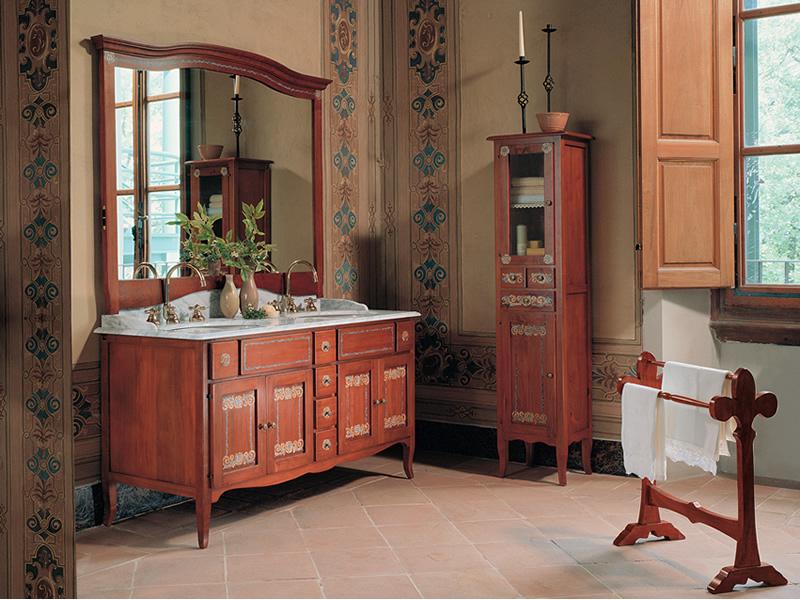 Armadio in legno per bagno con lavandino