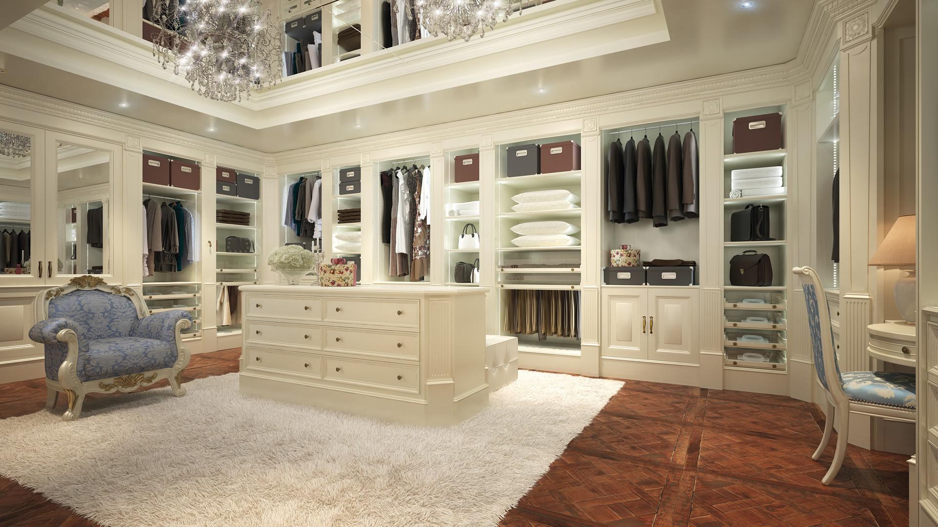 Cabina armadio su misura con mobili laccato bianco in stile classico/moderno