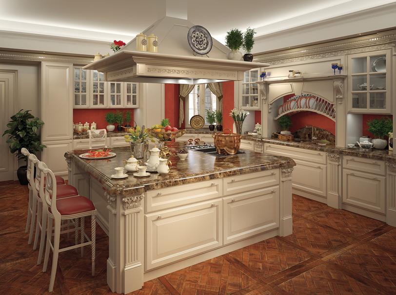 Cucina in legno bianco con isola centrale e ripiani in marmo