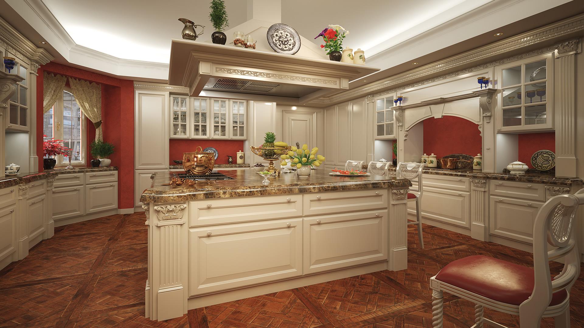 Cucina in stile classico con piano in marmo