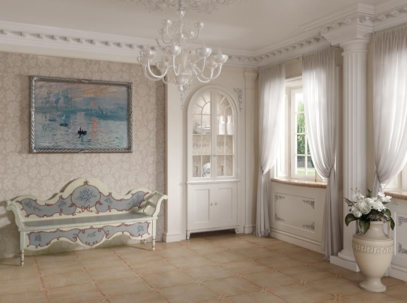 Ingresso abitazione in stile classico colori chiari e cassapanca