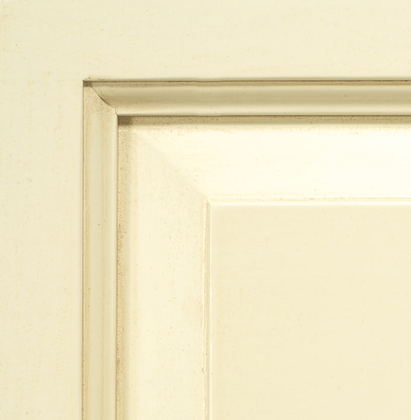 Antiqued ivory lacquered finish