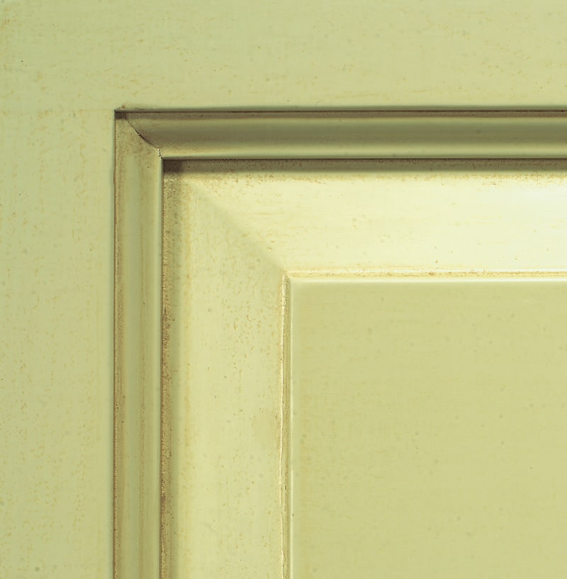 Antiqued sage green lacquered finish
