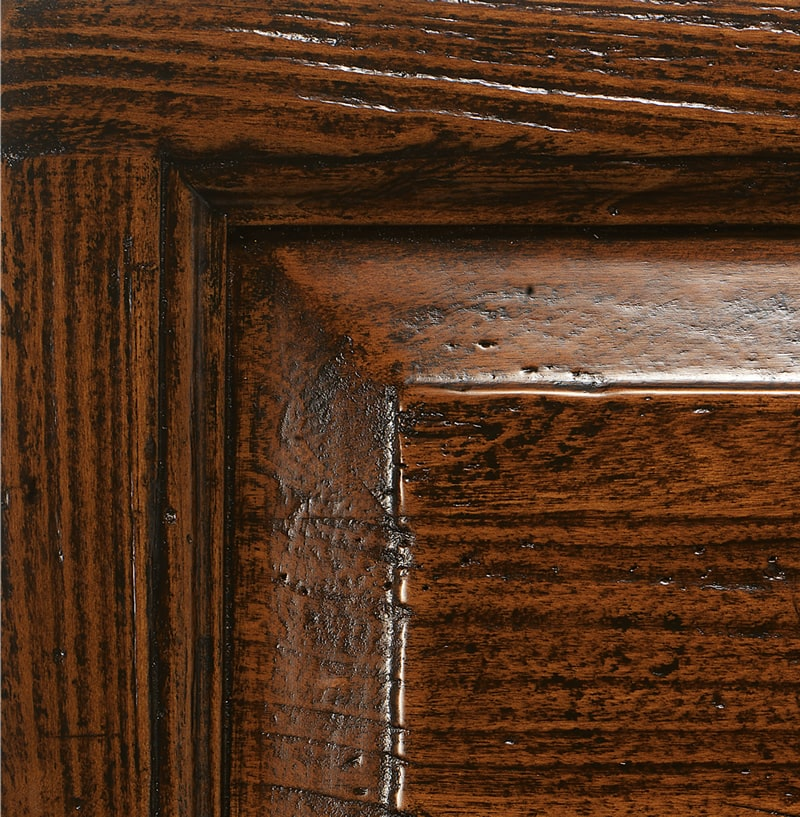 Antiqued and brushed dark walnut tint