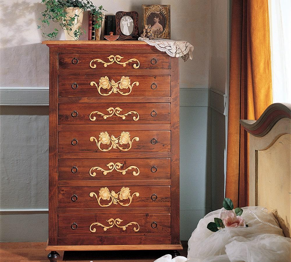 Mobile in legno da camera con 6 cassetti e decorazioni in rilievo