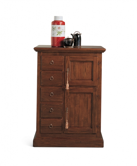 Cabinet with 2 doors and 5 drawers