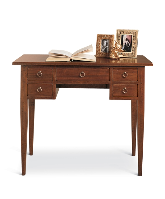 5-drawers writing desk with tapered legs