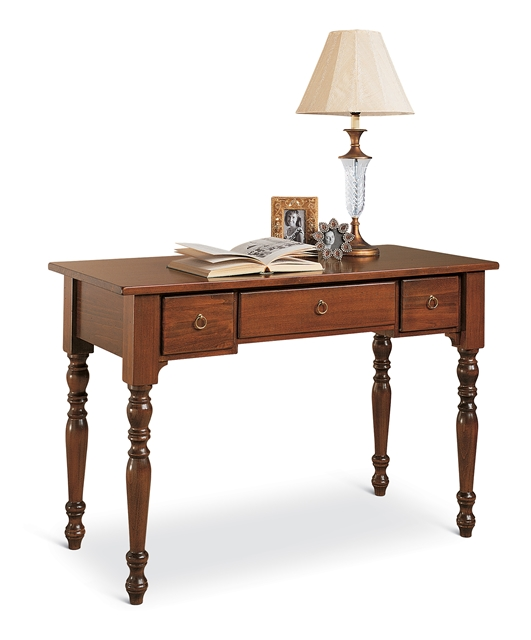 3-drawers writing desk with turned legs