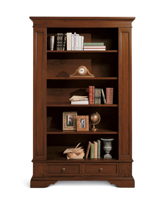 Bookcase with column shaped front panels