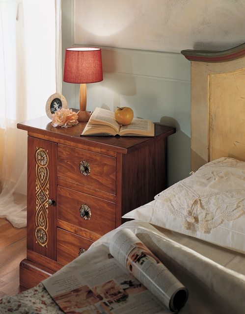 Bedside table with 3 drawers, 1 door