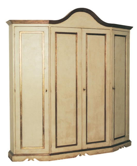 Canted wardrobe, with 4 doors