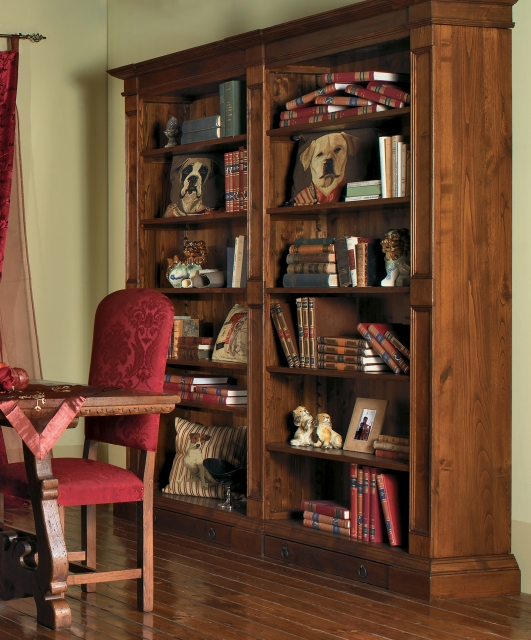 Bookcase with two drawers at the bottom
