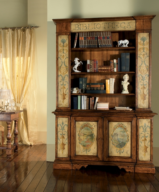 Two-door sideboard with bookcase