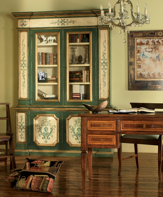 Bookcase with 2 glass doors, shelf