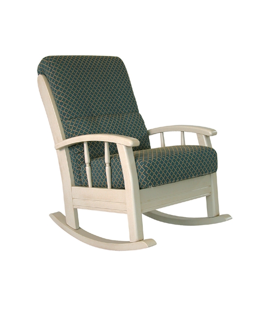 Rocking armchair with curved armrests