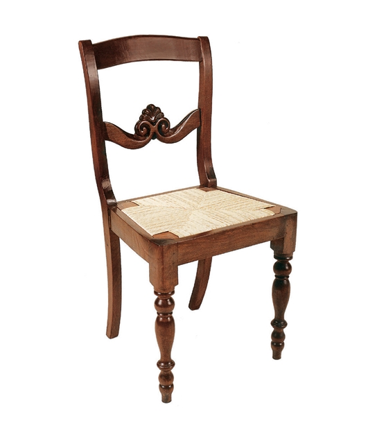 19th century style chair with carved transom