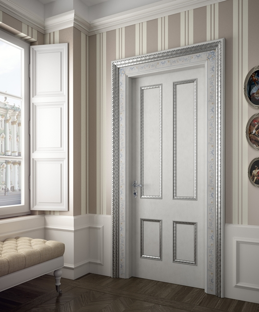 Gesso coloured door with silver cornices