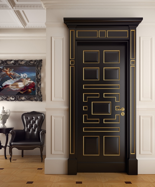 Lacquered door with gold cornices