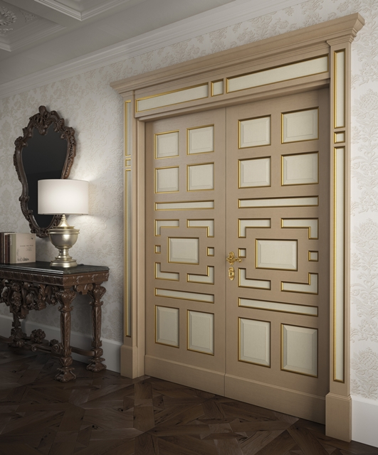 Gesso coloured door with gold cornices
