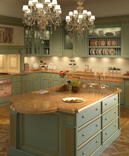 Regency kitchen, gold leaf cornices