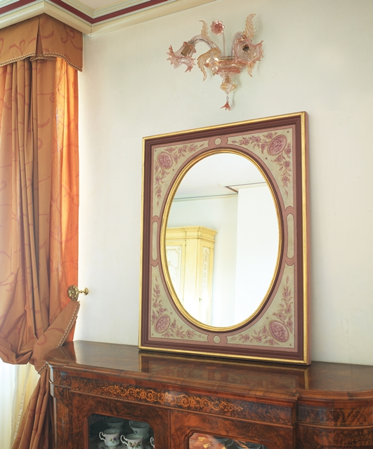 Mirror with frames and oval mirror