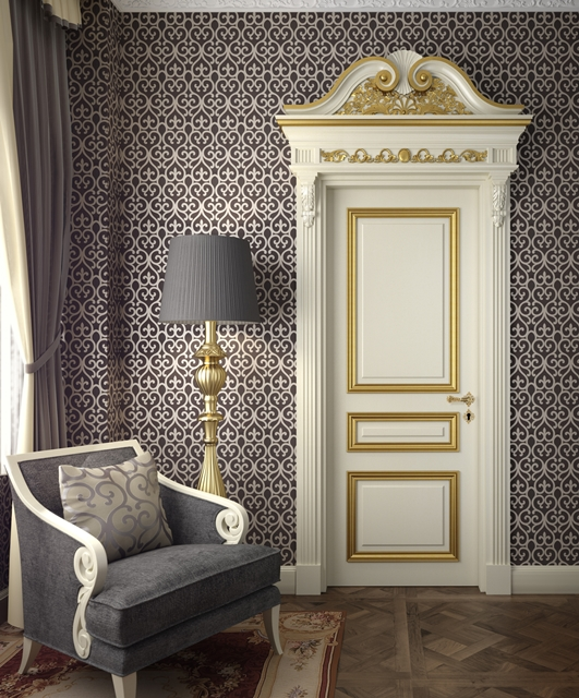Lacquered door with silver cornices