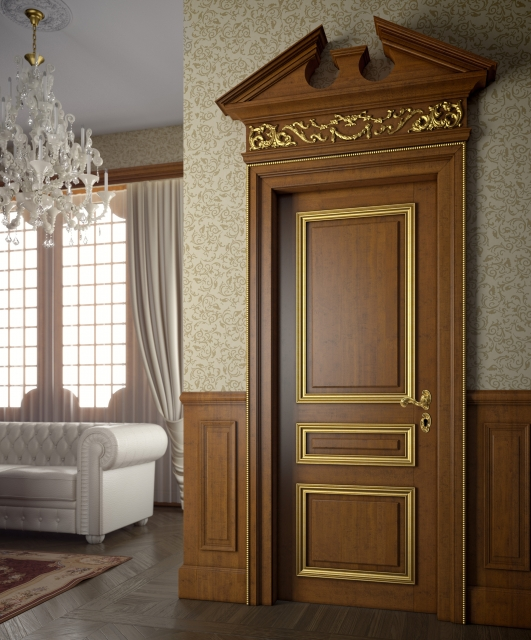 Door in walnut color with gold cornices